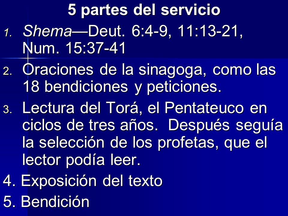 5 partes del servicio Shema—Deut. 6:4-9, 11:13-21, Num. 15:37-41. Oraciones de la sinagoga, como las 18 bendiciones y peticiones.