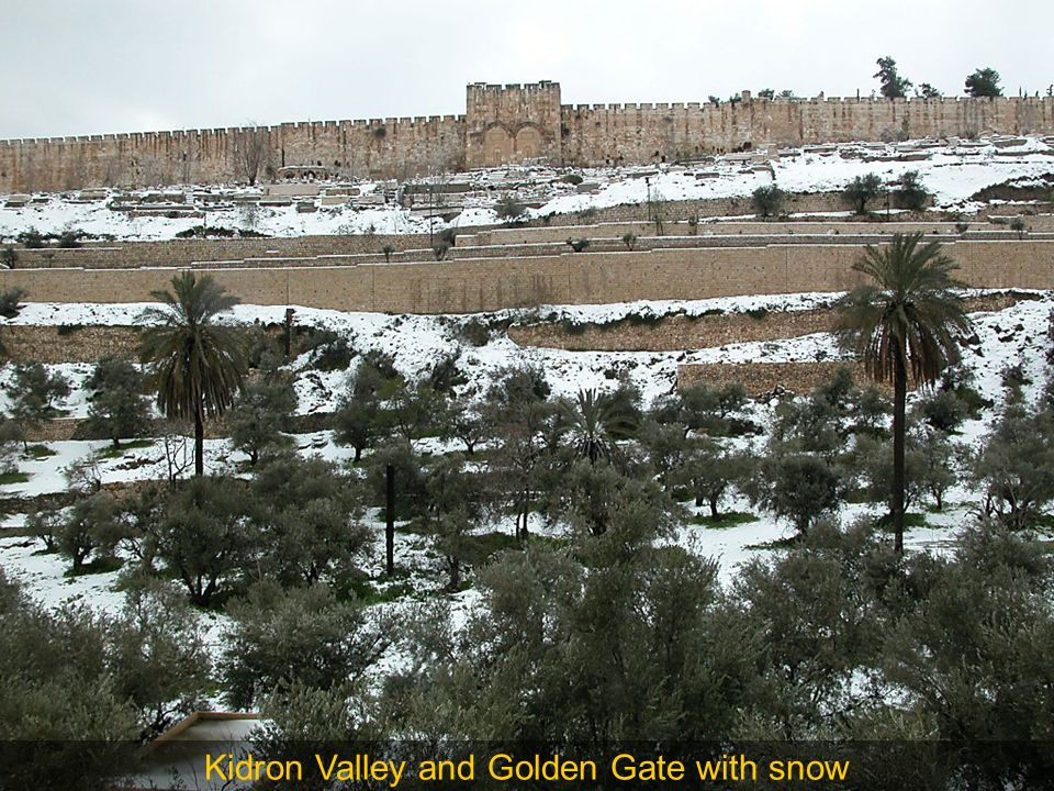 Kidron Valley and Golden Gate with snow