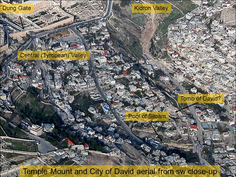 Temple Mount and City of David aerial from sw close-up