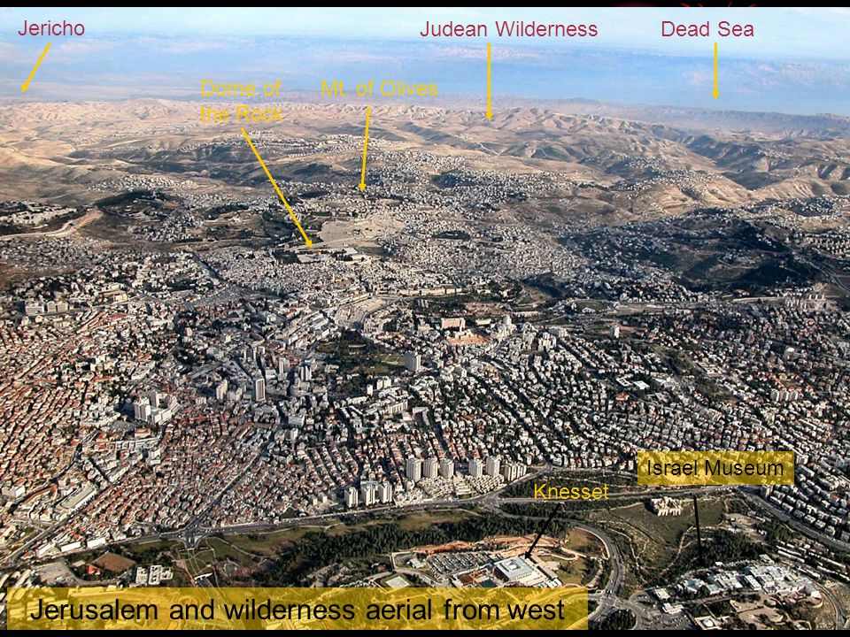 Jerusalem and wilderness aerial from west