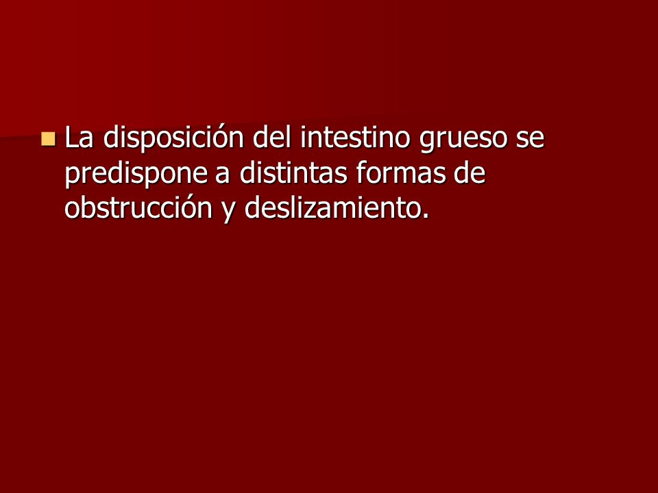 La disposición del intestino grueso se predispone a distintas formas de obstrucción y deslizamiento.