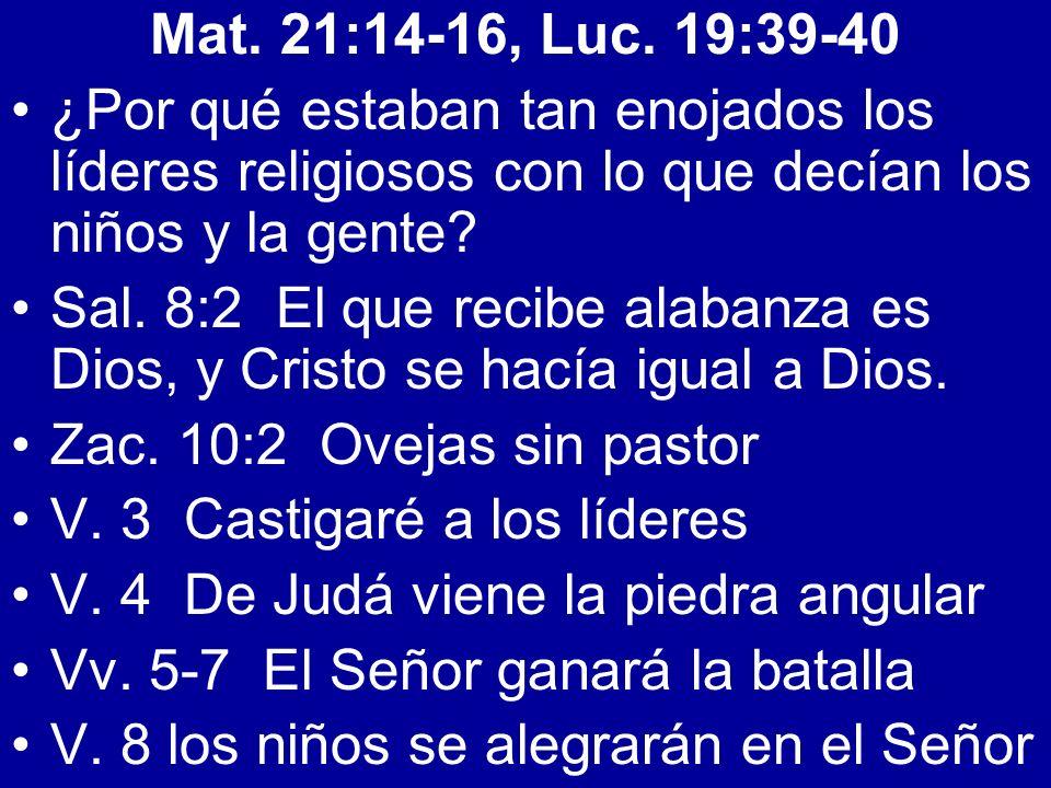 Mat. 21:14-16, Luc. 19:39-40 ¿Por qué estaban tan enojados los líderes religiosos con lo que decían los niños y la gente