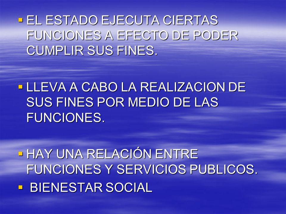 EL ESTADO EJECUTA CIERTAS FUNCIONES A EFECTO DE PODER CUMPLIR SUS FINES.