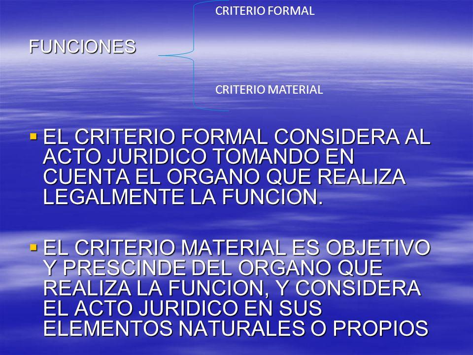 CRITERIO FORMAL CRITERIO MATERIAL. FUNCIONES.