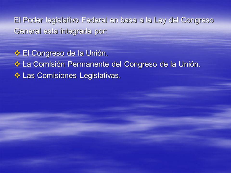 El Poder legislativo Federal en basa a la Ley del Congreso