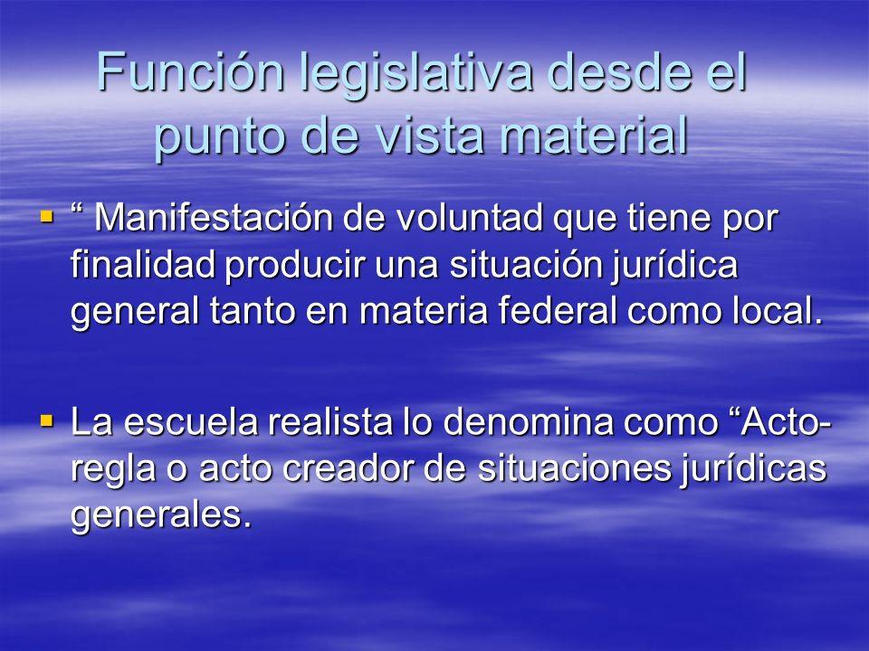 Función legislativa desde el punto de vista material