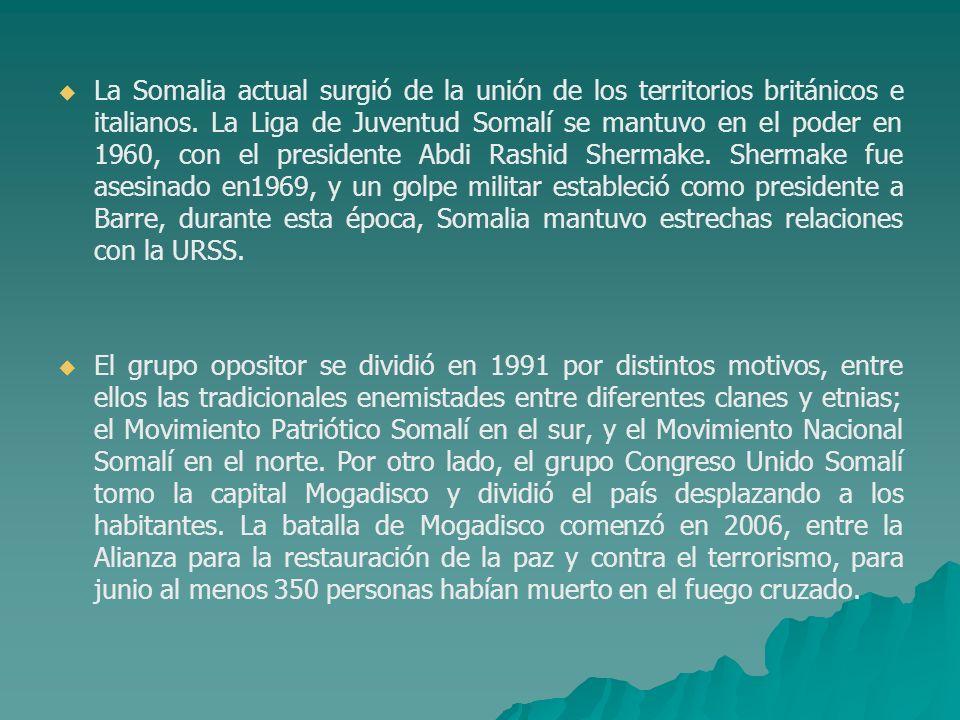 La Somalia actual surgió de la unión de los territorios británicos e italianos. La Liga de Juventud Somalí se mantuvo en el poder en 1960, con el presidente Abdi Rashid Shermake. Shermake fue asesinado en1969, y un golpe militar estableció como presidente a Barre, durante esta época, Somalia mantuvo estrechas relaciones con la URSS.