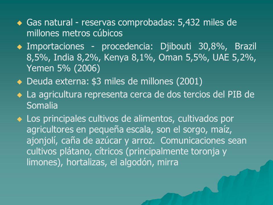 Gas natural - reservas comprobadas: 5,432 miles de millones metros cúbicos