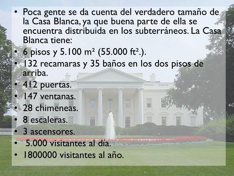 Poca gente se da cuenta del verdadero tamaño de la Casa Blanca, ya que buena parte de ella se encuentra distribuida en los subterráneos. La Casa Blanca tiene: