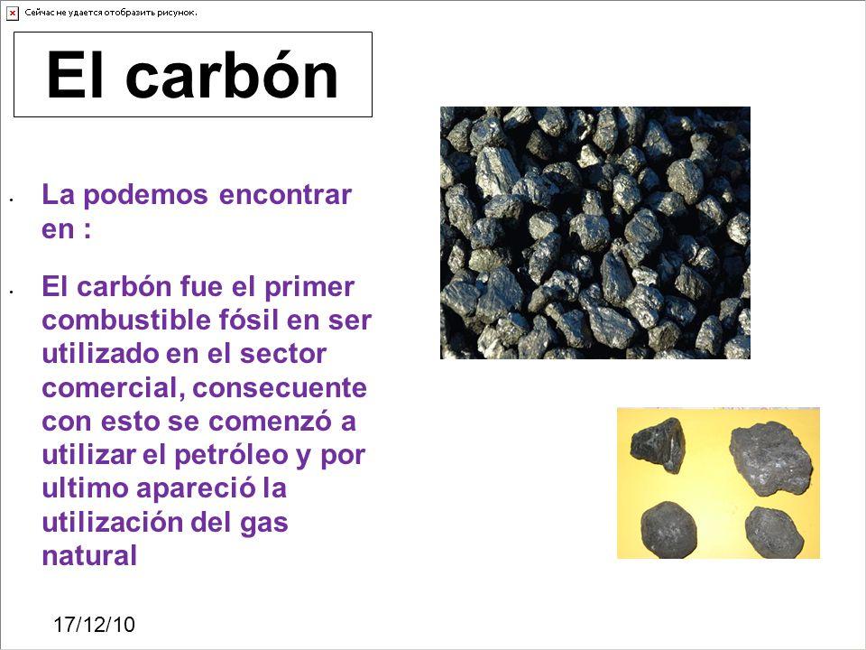 El carbón La podemos encontrar en :
