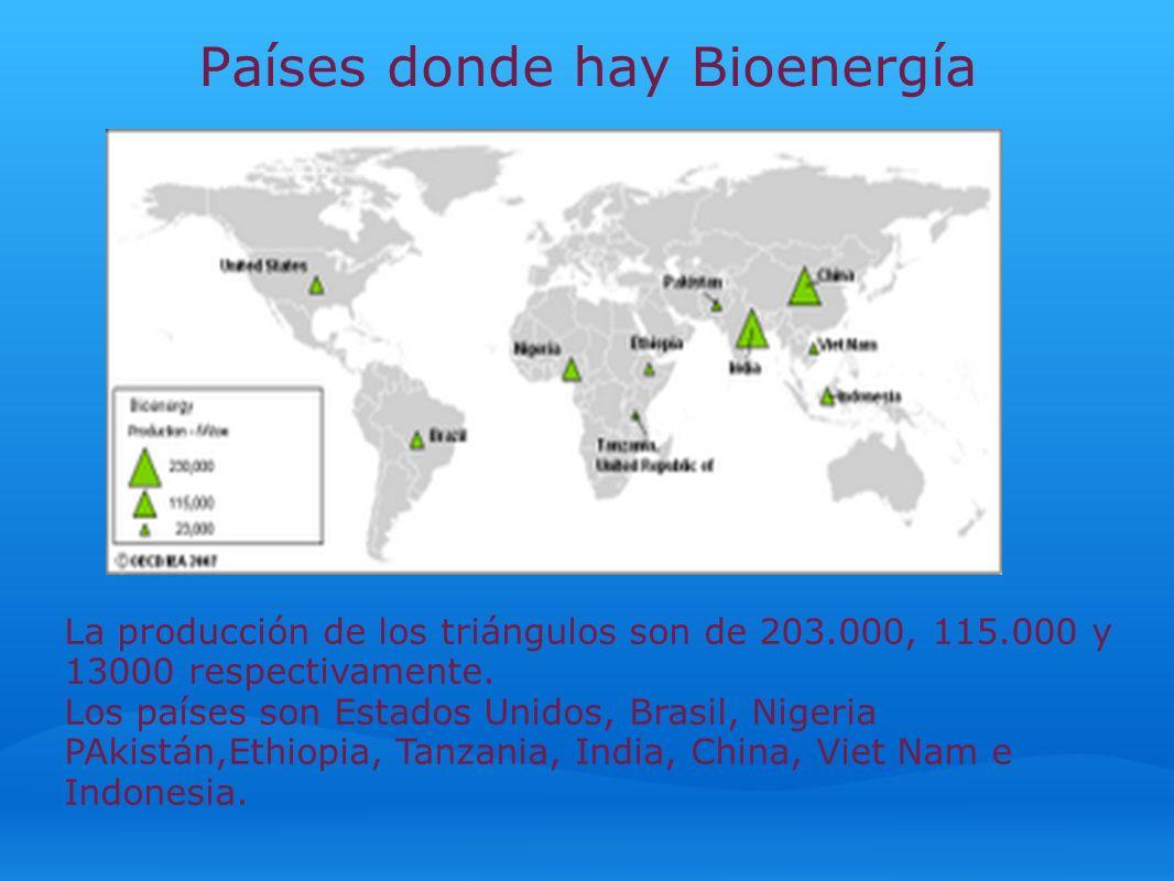 Países donde hay Bioenergía