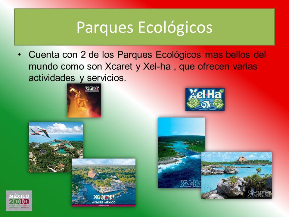 Parques Ecológicos Cuenta con 2 de los Parques Ecológicos mas bellos del mundo como son Xcaret y Xel-ha , que ofrecen varias actividades y servicios.
