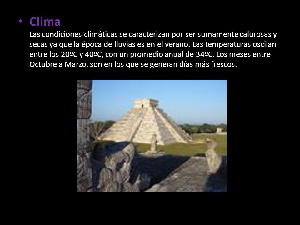 Clima Las condiciones climáticas se caracterizan por ser sumamente calurosas y secas ya que la época de lluvias es en el verano.