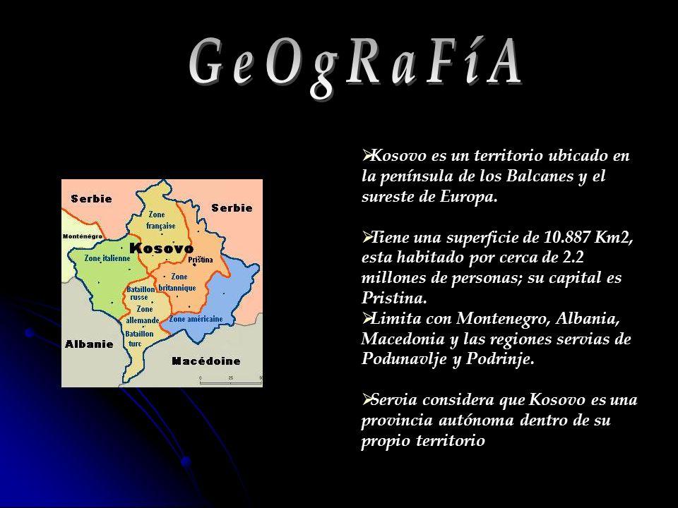 GeOgRaFíA Kosovo es un territorio ubicado en la península de los Balcanes y el sureste de Europa.