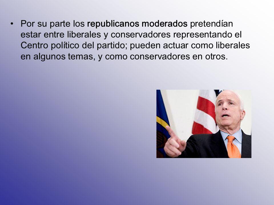 Por su parte los republicanos moderados pretendían estar entre liberales y conservadores representando el Centro político del partido; pueden actuar como liberales en algunos temas, y como conservadores en otros.