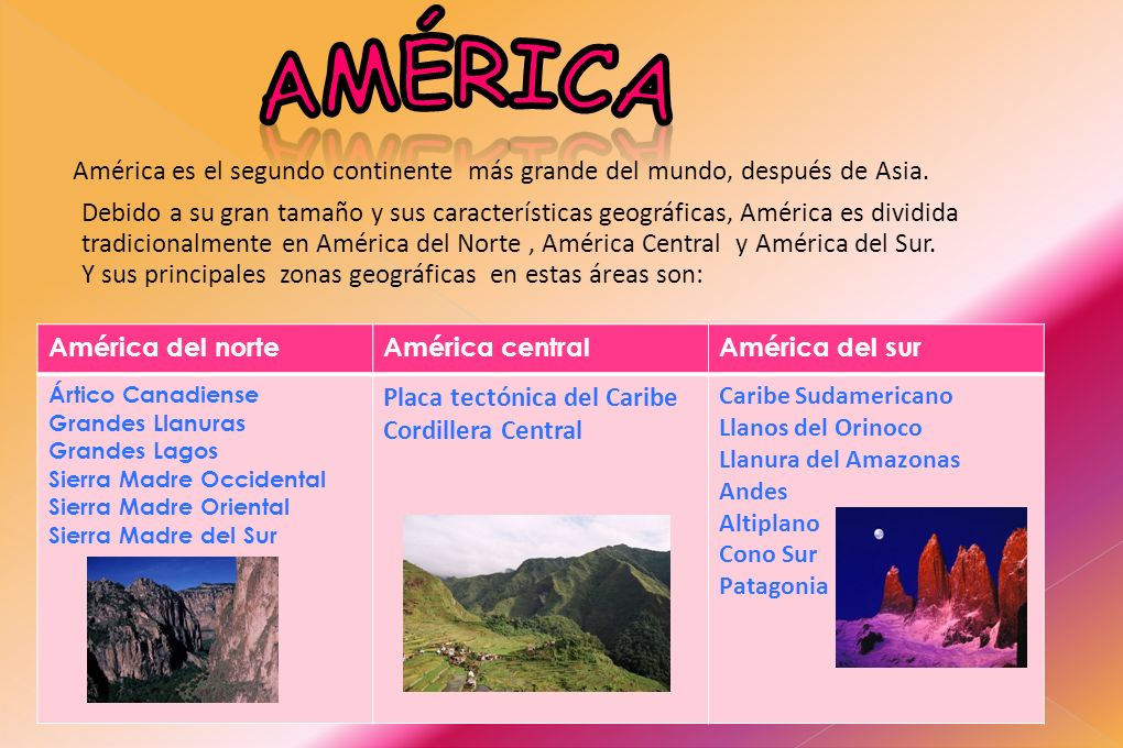 América América es el segundo continente más grande del mundo, después de Asia.