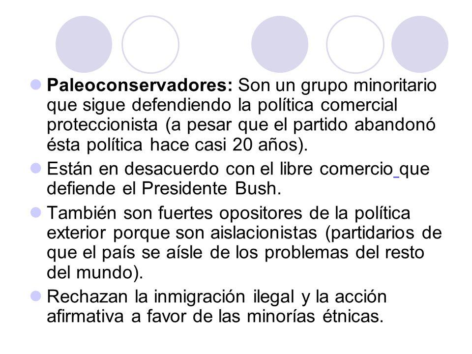 Paleoconservadores: Son un grupo minoritario que sigue defendiendo la política comercial proteccionista (a pesar que el partido abandonó ésta política hace casi 20 años).