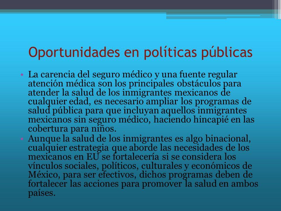 Oportunidades en políticas públicas