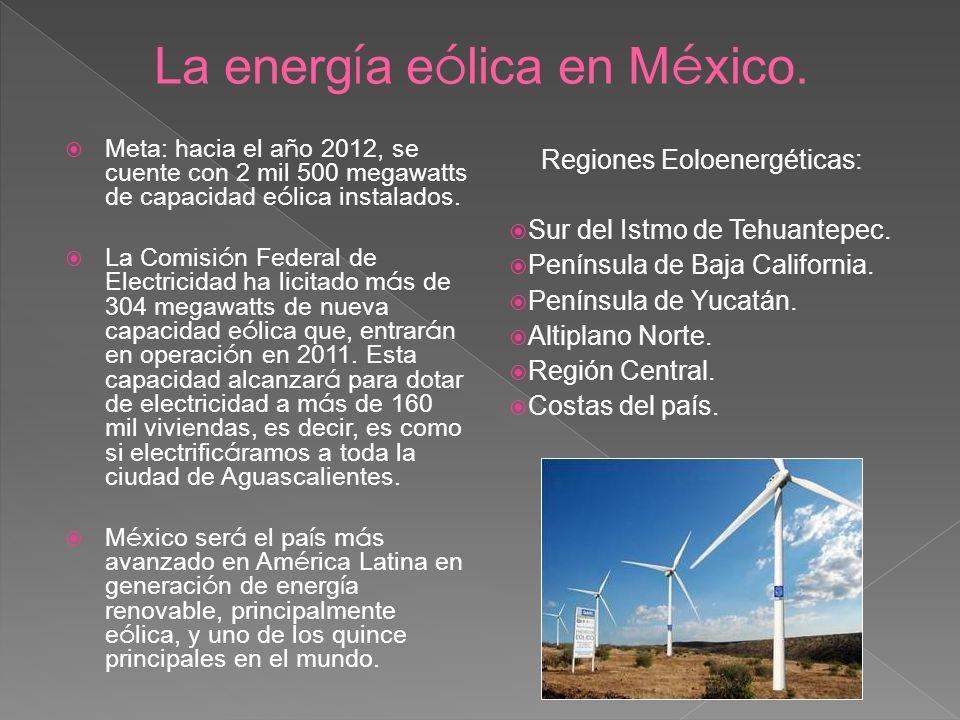 La energía eólica en México.