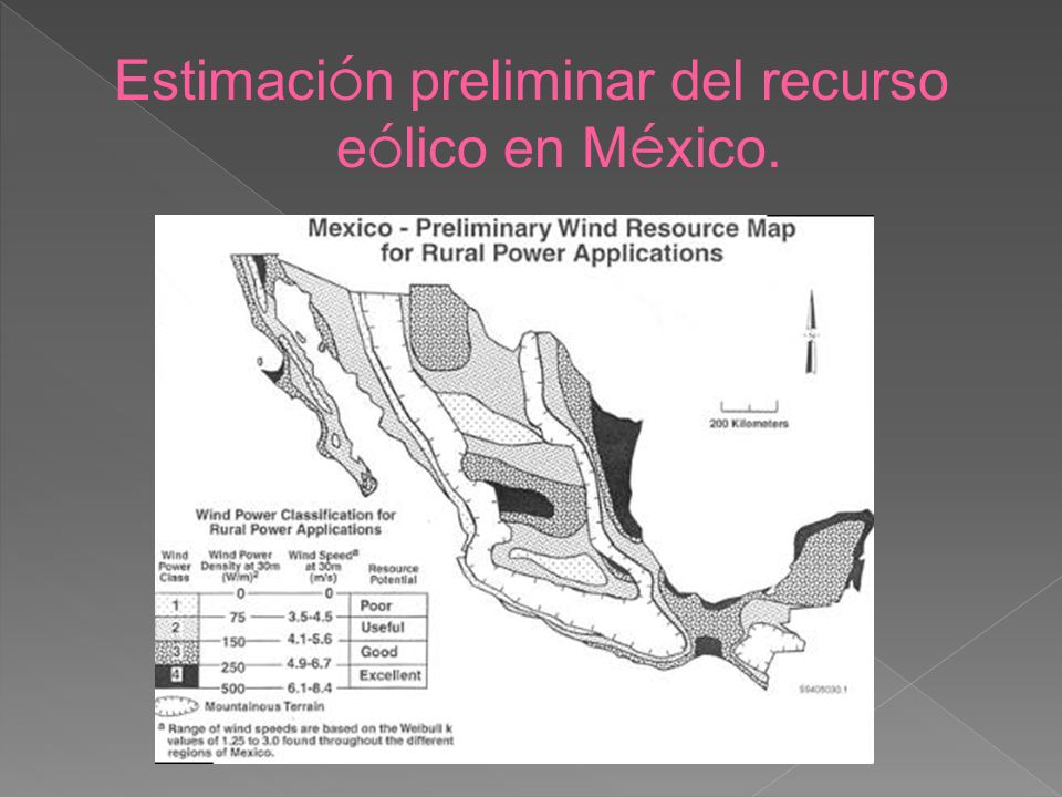 Estimación preliminar del recurso eólico en México.