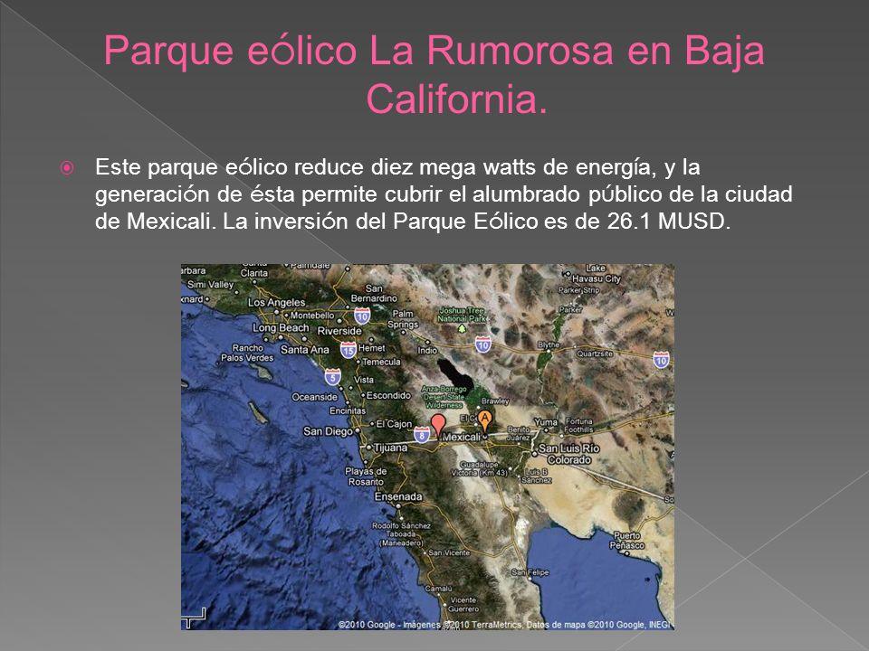 Parque eólico La Rumorosa en Baja California.