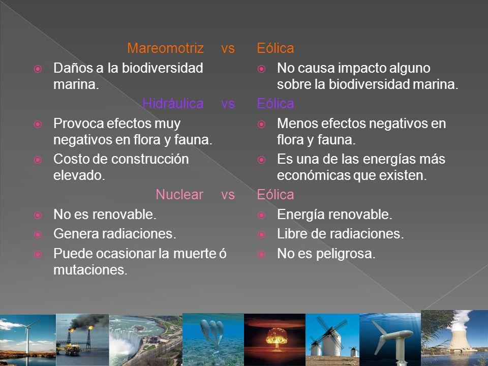 Mareomotriz vs Daños a la biodiversidad marina. Hidráulica vs. Provoca efectos muy negativos en flora y fauna.