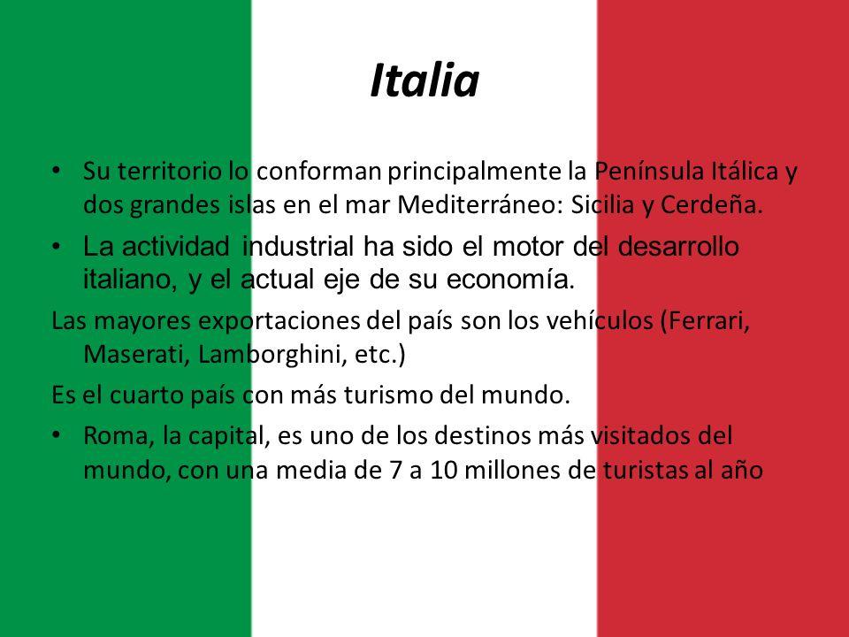 Italia Su territorio lo conforman principalmente la Península Itálica y dos grandes islas en el mar Mediterráneo: Sicilia y Cerdeña.