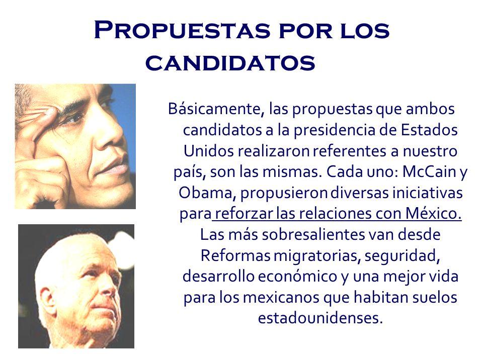 Propuestas por los candidatos