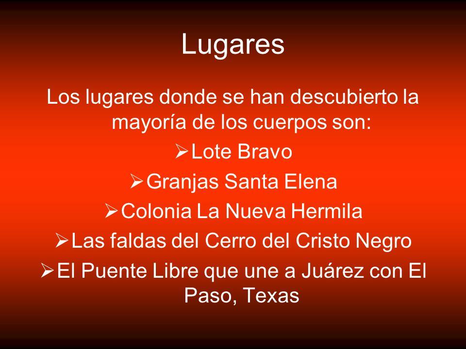 Lugares Los lugares donde se han descubierto la mayoría de los cuerpos son: Lote Bravo. Granjas Santa Elena.
