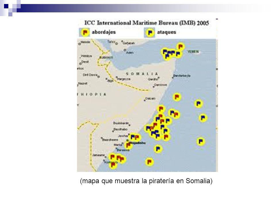 (mapa que muestra la piratería en Somalia)