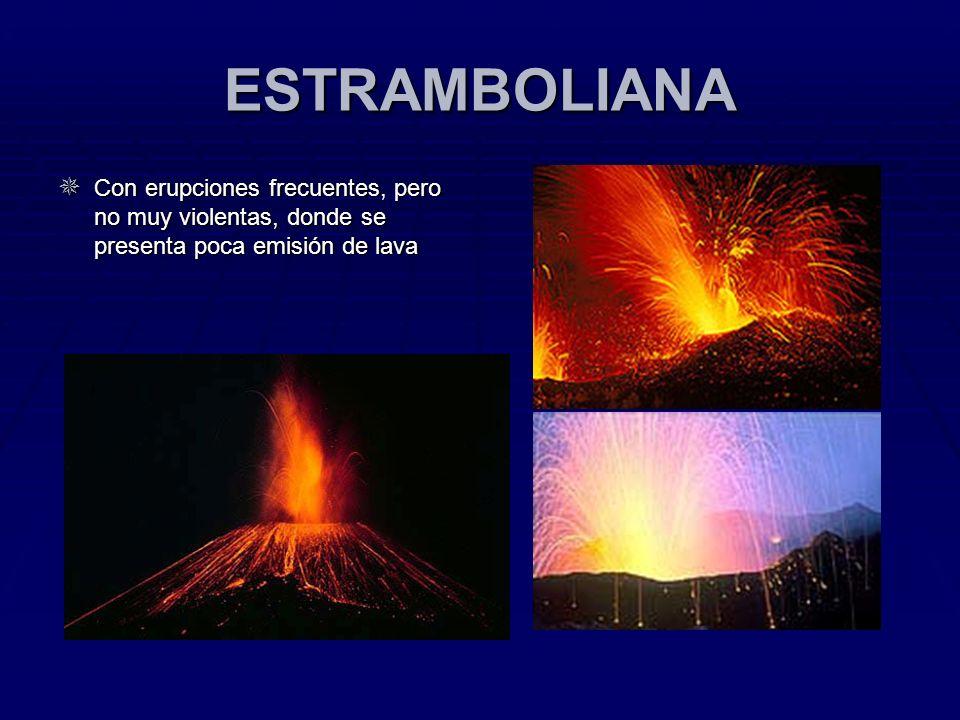 ESTRAMBOLIANA Con erupciones frecuentes, pero no muy violentas, donde se presenta poca emisión de lava.