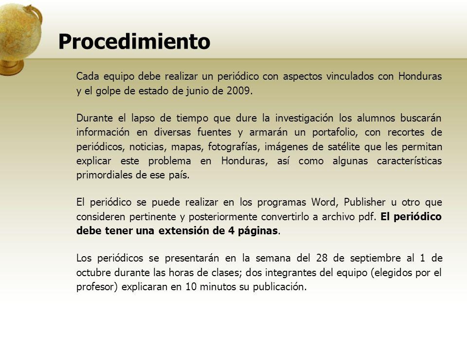 Procedimiento Cada equipo debe realizar un periódico con aspectos vinculados con Honduras y el golpe de estado de junio de 2009.