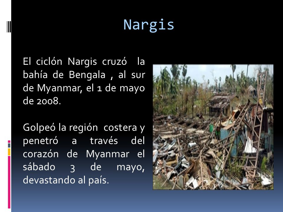 NargisEl ciclón Nargis cruzó la bahía de Bengala , al sur de Myanmar, el 1 de mayo de 2008.