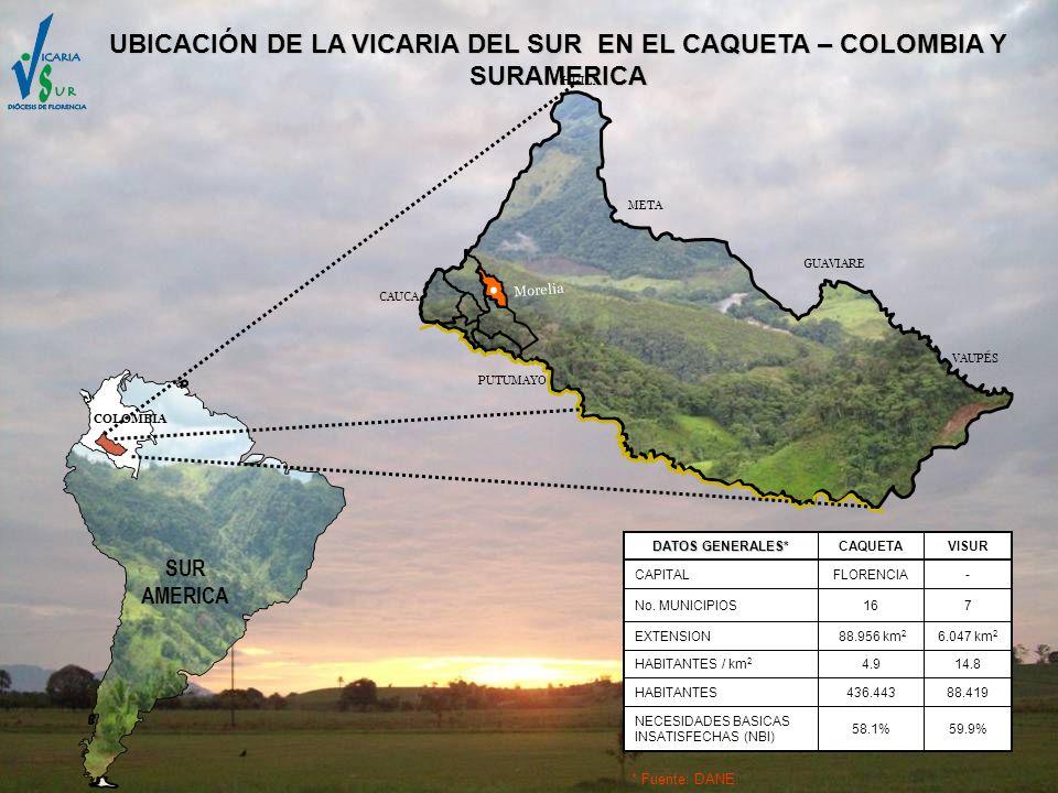 UBICACIÓN DE LA VICARIA DEL SUR EN EL CAQUETA – COLOMBIA Y SURAMERICA
