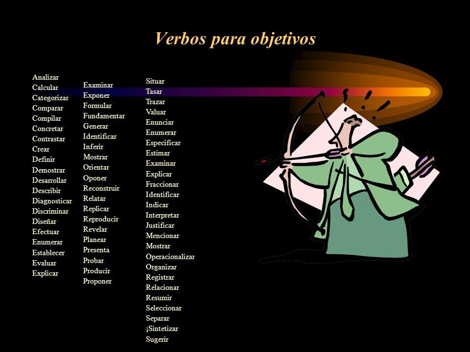 Verbos para objetivos Analizar Calcular Situar Categorizar Examinar