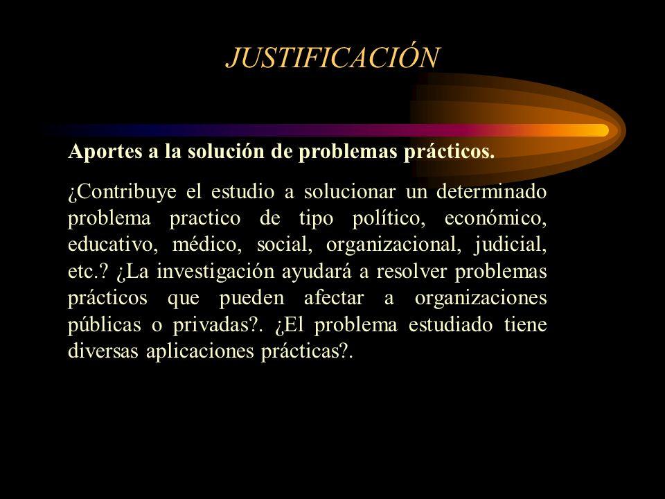 JUSTIFICACIÓN Aportes a la solución de problemas prácticos.