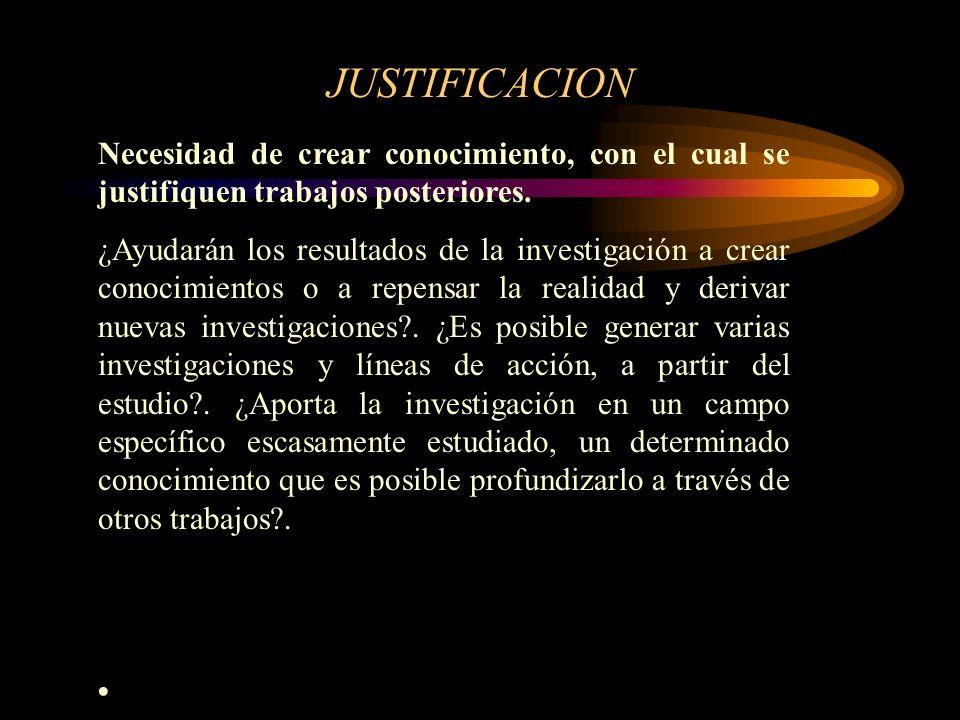 JUSTIFICACION Necesidad de crear conocimiento, con el cual se justifiquen trabajos posteriores.