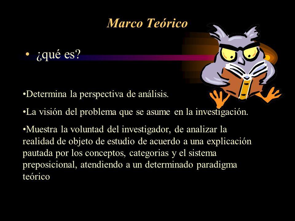 Marco Teórico ¿qué es Determina la perspectiva de análisis.