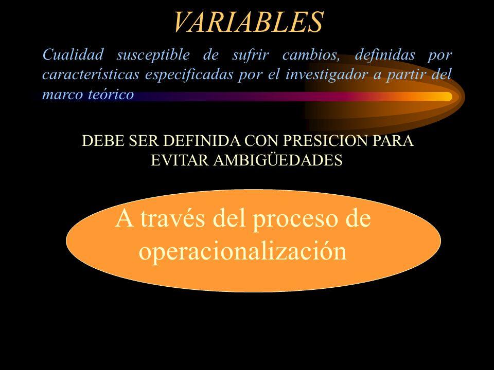 VARIABLES A través del proceso de operacionalización