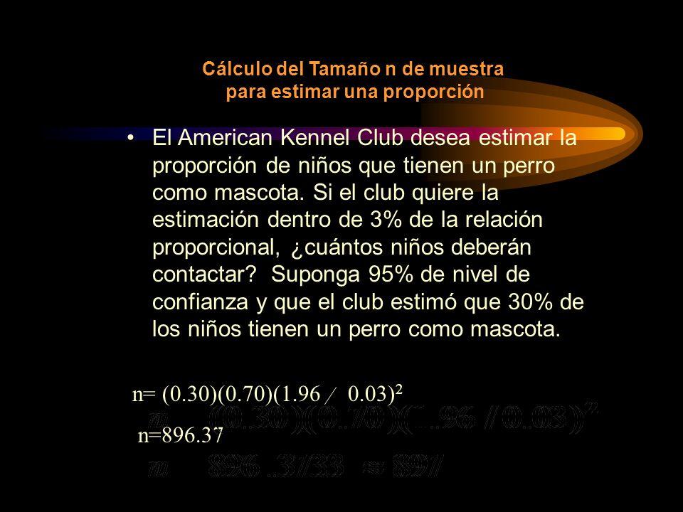 Cálculo del Tamaño n de muestra para estimar una proporción