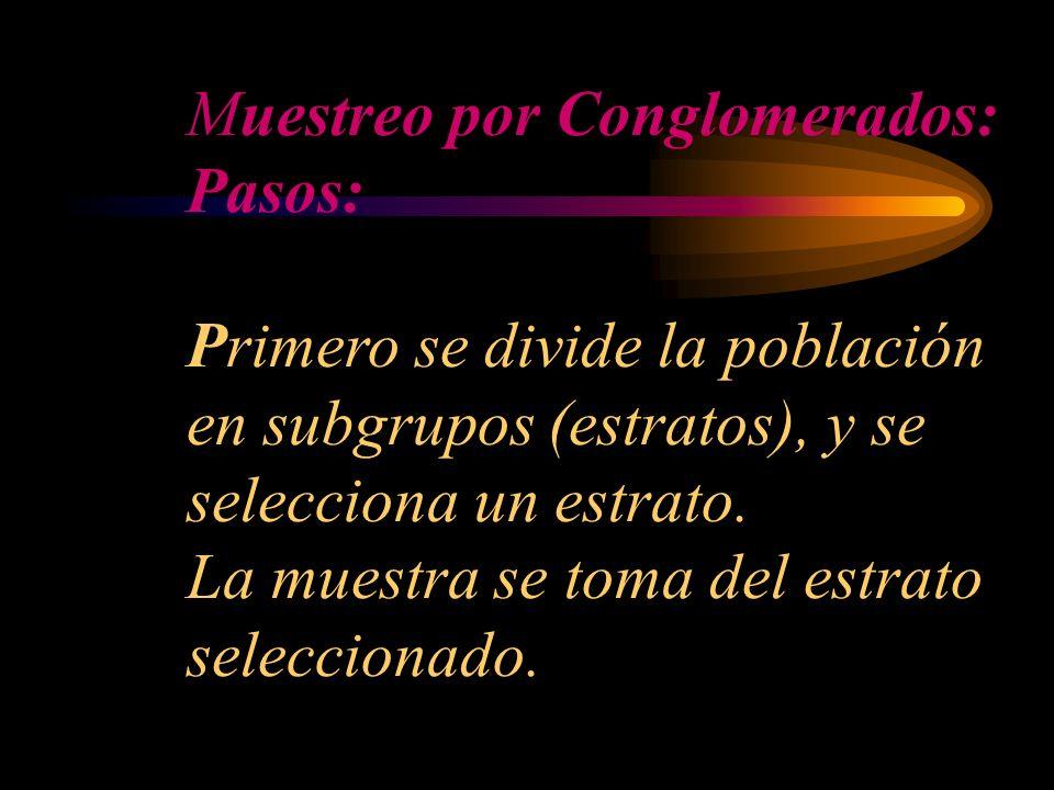 Muestreo por Conglomerados: Pasos: Primero se divide la población en subgrupos (estratos), y se selecciona un estrato.