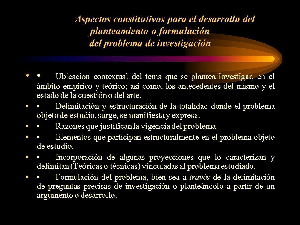 Aspectos constitutivos para el desarrollo del planteamiento o formulación del problema de investigación