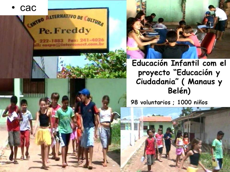 cac Educación Infantil com el proyecto Educación y Ciudadania ( Manaus y Belén) 98 voluntarios ; 1000 niños.