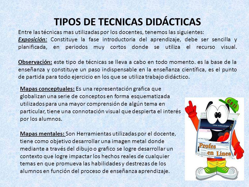 TIPOS DE TECNICAS DIDÁCTICAS