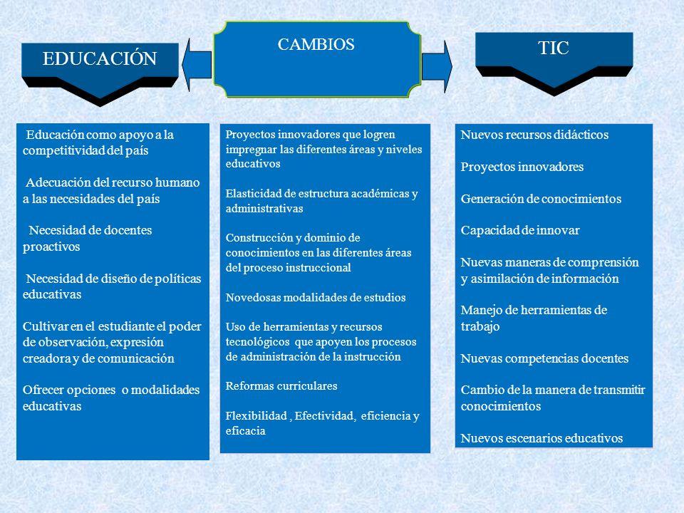 CAMBIOS TIC. EDUCACIÓN. Educación como apoyo a la competitividad del país. Adecuación del recurso humano a las necesidades del país.