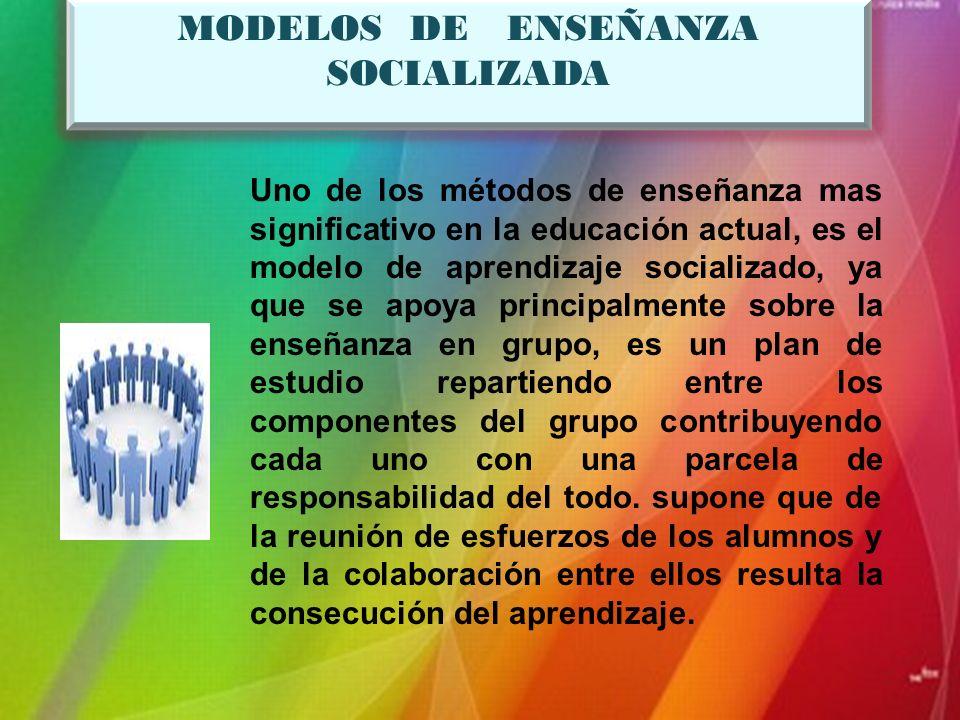MODELOS DE ENSEÑANZA SOCIALIZADA