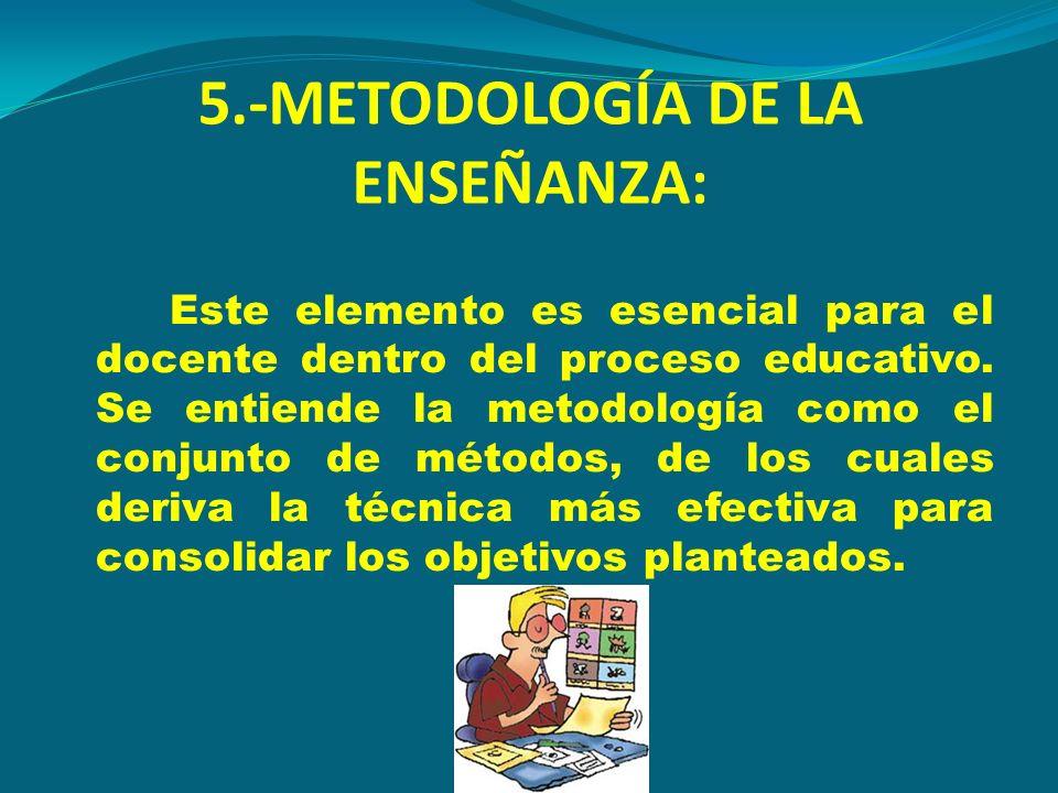 5.-METODOLOGÍA DE LA ENSEÑANZA: