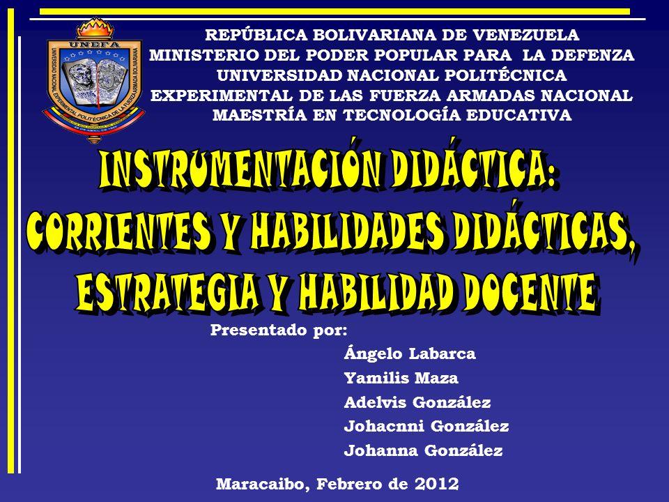 INSTRUMENTACIÓN DIDÁCTICA: CORRIENTES Y HABILIDADES DIDÁCTICAS,