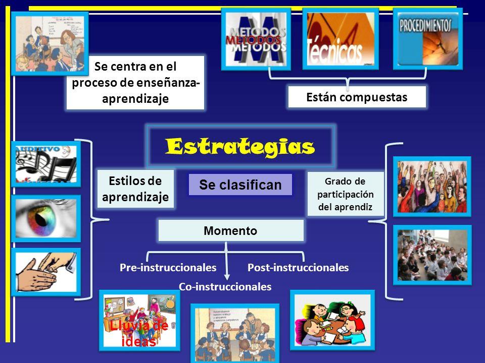 Estrategias Se centra en el proceso de enseñanza-aprendizaje