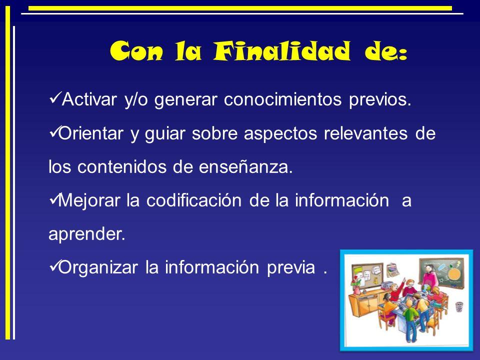 Con la Finalidad de: Activar y/o generar conocimientos previos.